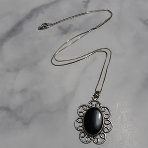 Vintage sterling silver onyx necklace
